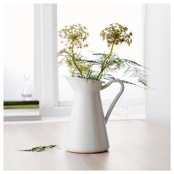 White vintage shabby chic cream vase enamel pitcher jug pot