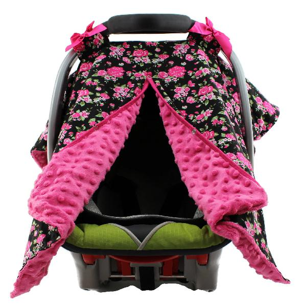 Dear baby gear carseat canopy, vintage floral hot pink on
