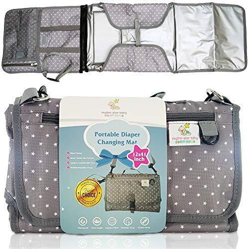 Portable changing mat diaper clutch bag multiple pockets,