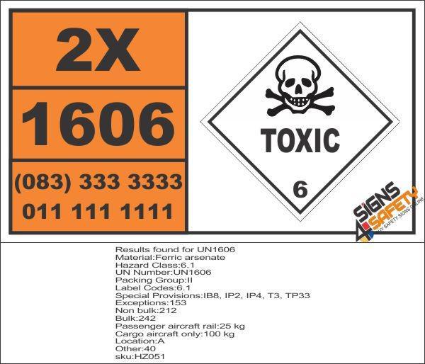UN1606 Ferric arsenate, Toxic (6), Hazchem Placard - Truck