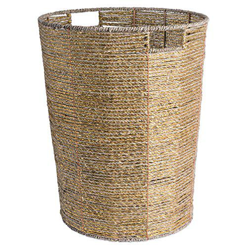 Dii decorative woven seagrass laundry hamper with metallic
