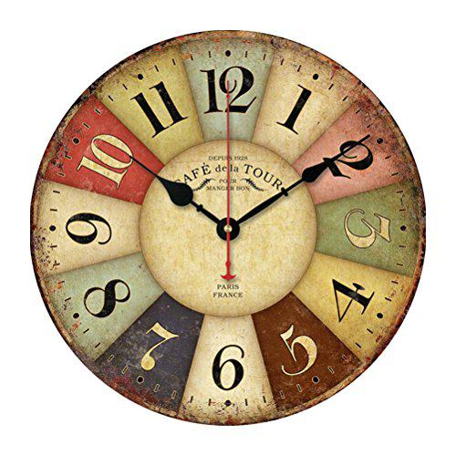 Pixnor vintage colorful arabic numerals design non-ticking
