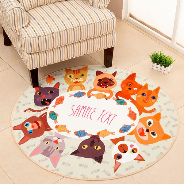 Polyester round soft fashion floor mat cats & dogs rug room