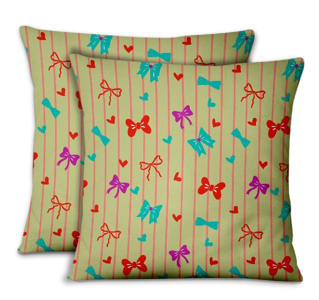 S4Sassy Cushion Cover Bow & Stripe Printed Sofa Cushion