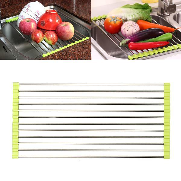 Stainless steel sink dish drying roll rack fruit vegetable
