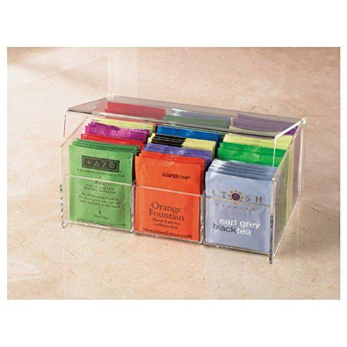 """Stock your home acrylic 6 section tea bag box (clear) (8.5""""l"""