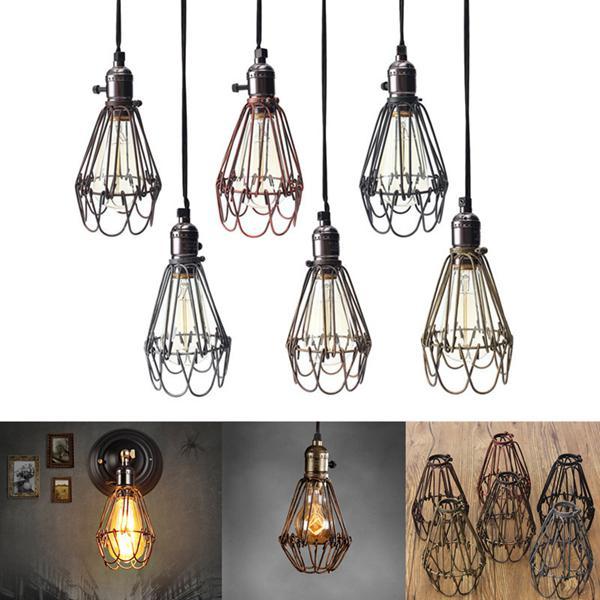 Vintage pendant trouble light bulb guard cage ceiling