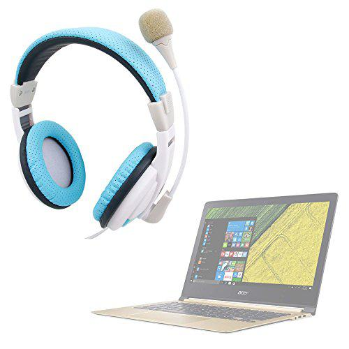Duragadget padded 3.5mm blue pc video chat/gaming headset