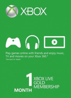 Xbox live gold 1 month membership (digital keycode)