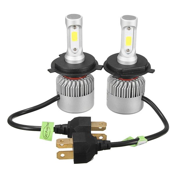 Pair 72w 8000lm cob led car headlights fog lamps bulbs h4 h7