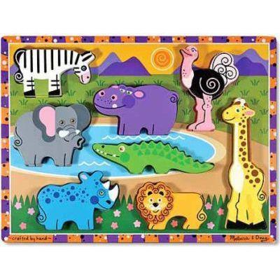 Melissa & doug chunky puzzles - safari (8 pieces)