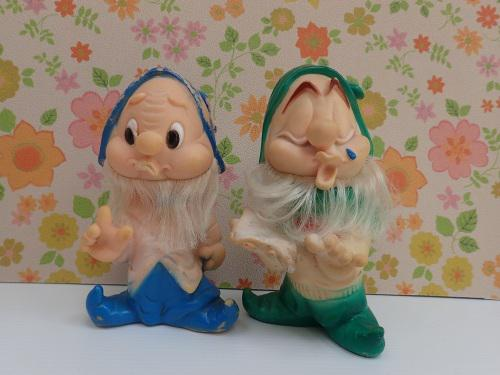Pair of vintage rubber dwarf figurines