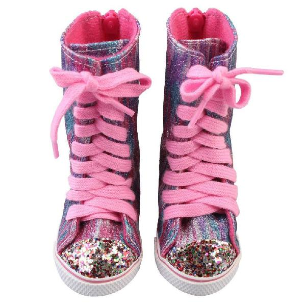 Prevently new fashion style pink glitter doll shoes straps