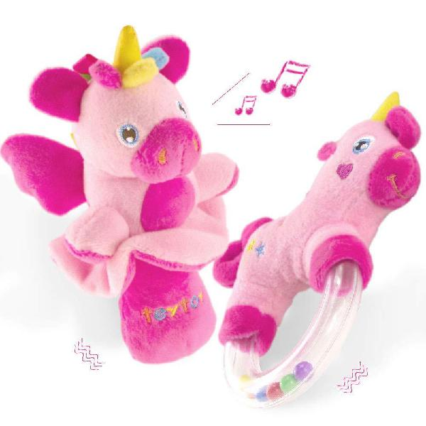 Teytoy 2pcs soft baby rattles set, lovely pink horse and