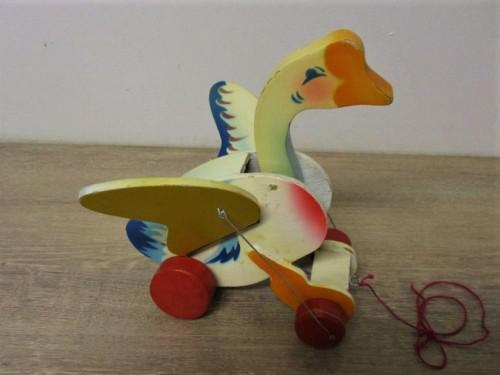 Vintage pull along wooden mother goose - quacks and flaps