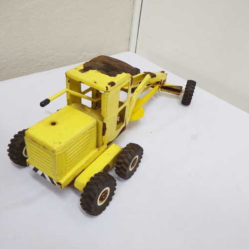 Vintage strike toys pressed steel road grader - losing paint