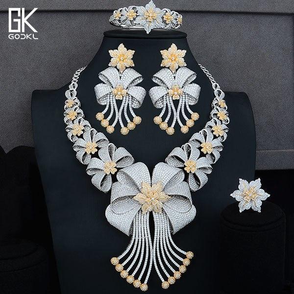 Big luxury 4pcs african jewelry set women's wedding cubic