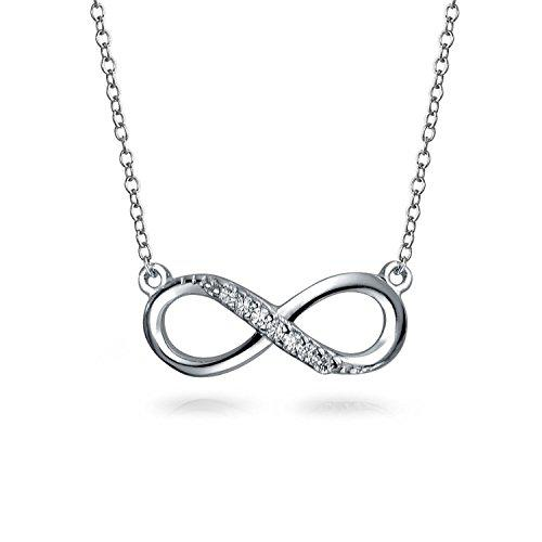 Bling Jewelry Half Pave CZ Small Infinity Pendant Silver