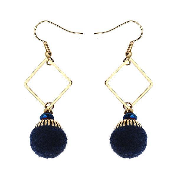 Bohemian earrings gold plated simple rhombus yarn ball
