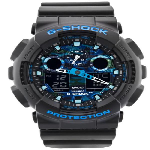 Casio g-shock black and blue ana-digi sports watch