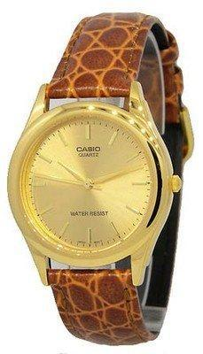Casio #mtp1093q-9a men's leather strap fashion gold dial