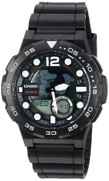 Casio Men's '3D Dial' Quartz Resin Watch, Color:Black