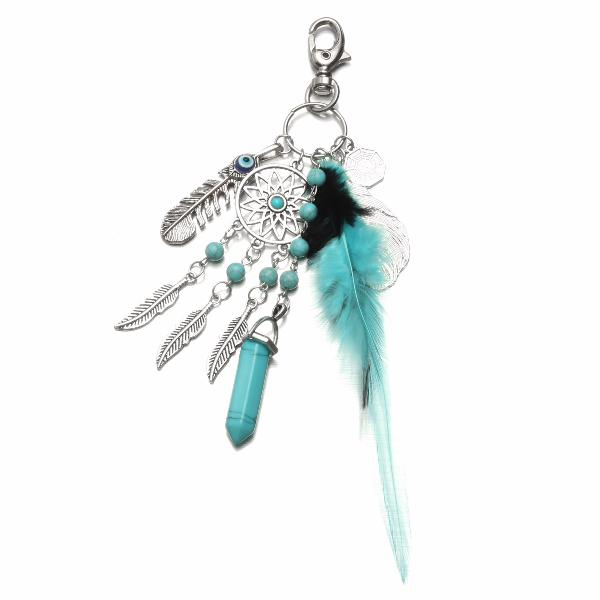 Dream&catcher tassel feather key chain ring bags pendant