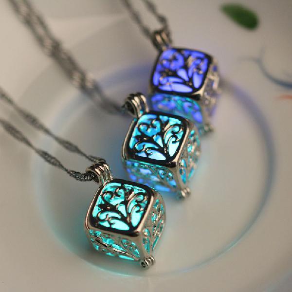 Fashion luminous stone necklace wishing hollow tree locket