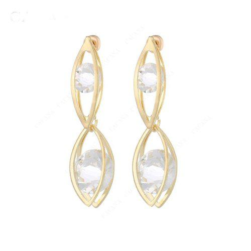 Gold plated long earrings for women double oval no.a892