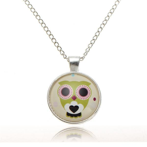 Lovely owl animal glass cabochon silver chain pendant