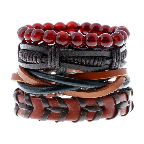 Punk woven cowhide bracelet multiplayer men's hemp leather