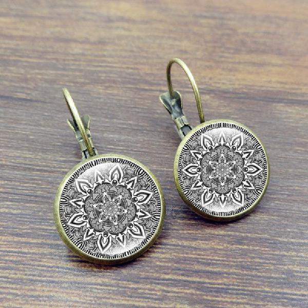 Retro datura ear drop earrings alloy french hook earring for