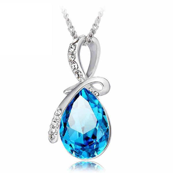 Rhinestone crystal water drop pendant necklace for women