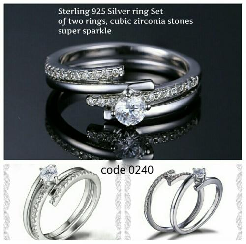 Ring set, 925 sterling silver wedding, engagement rings,