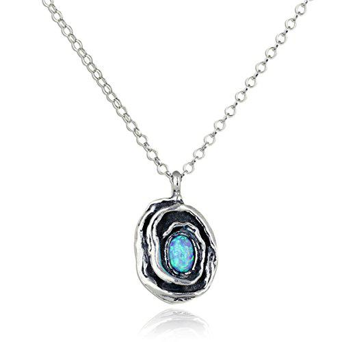 Rose pendant with created blue fire opal in 925 sterling