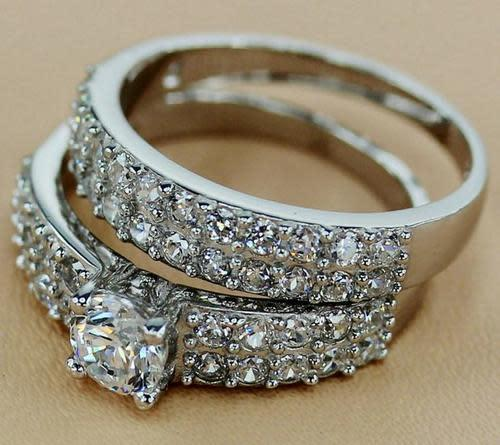 Set, 925 sterling silver 2 piece wedding set cz rings, free