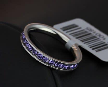 Stainless steel purple rhinestone wedding ring free box,