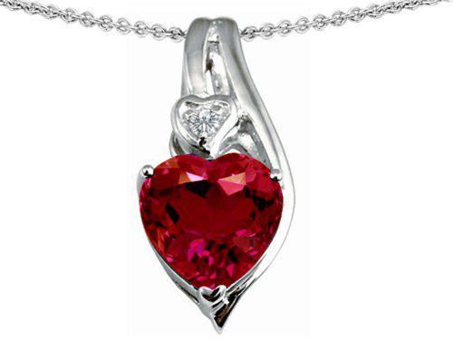 Star k sterling silver large 10mm heart shape heart pendant