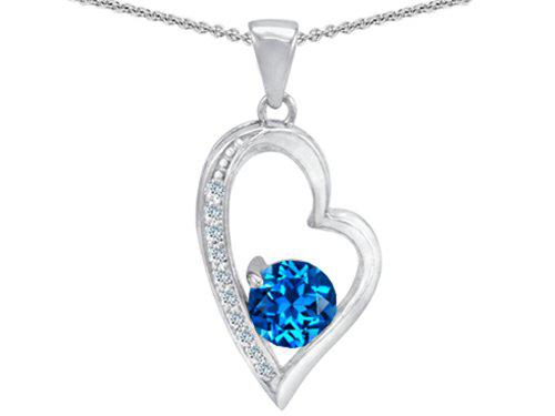 Star k sterling silver round stone heart pendant