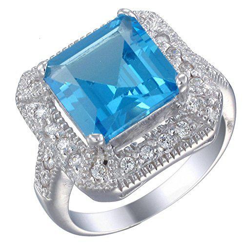 Sterling silver swiss blue topaz ring (2.90 ct)