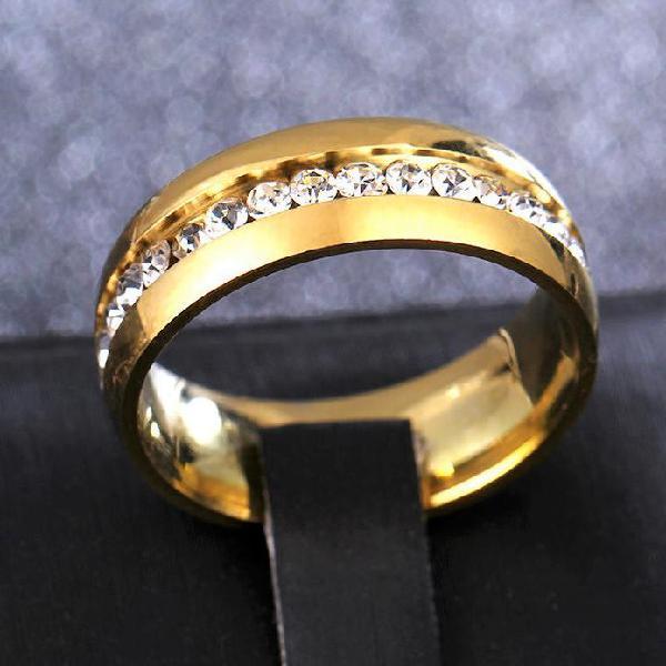 Titanium gold plated, simulated diamond inlay - sizes 2 -6,