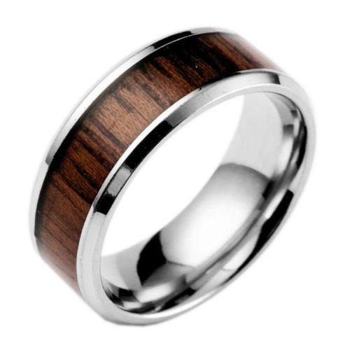 Wood inlay stainless steel men's ring - size 6
