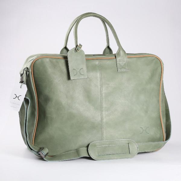 Thandana business executive leather travel bag - green