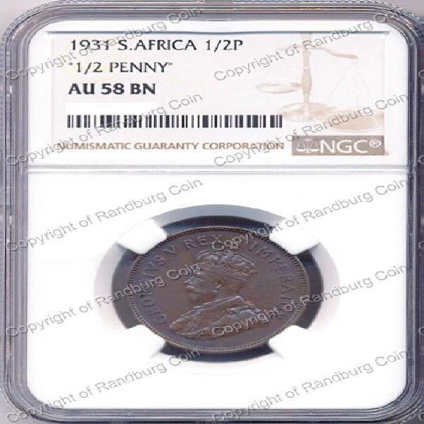 1931 zuid afrika half penny ngc graded au 58 bn *#*