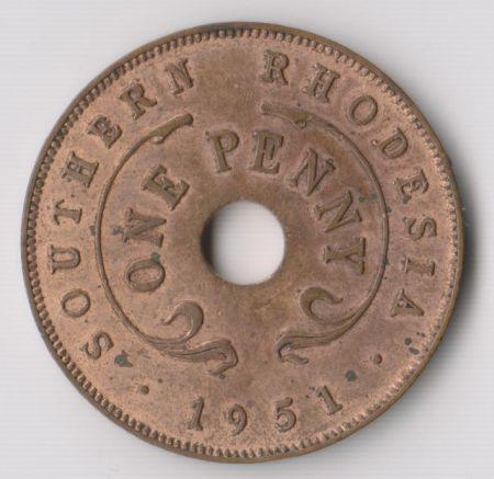 1951 southern rhodesia one penny coin - au to unc