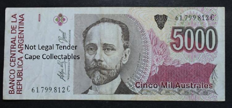 Argentina 5000 australes bank note 1989