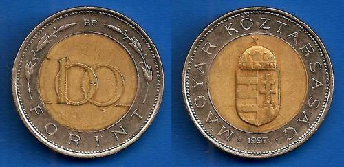 Hungary 100 forint 1997 bi metallic coin europe