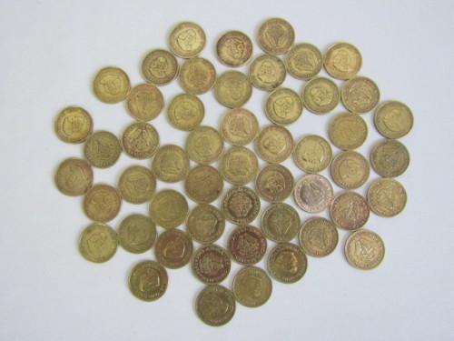 Large lot of 51 old south african 1/2c coins in excellent