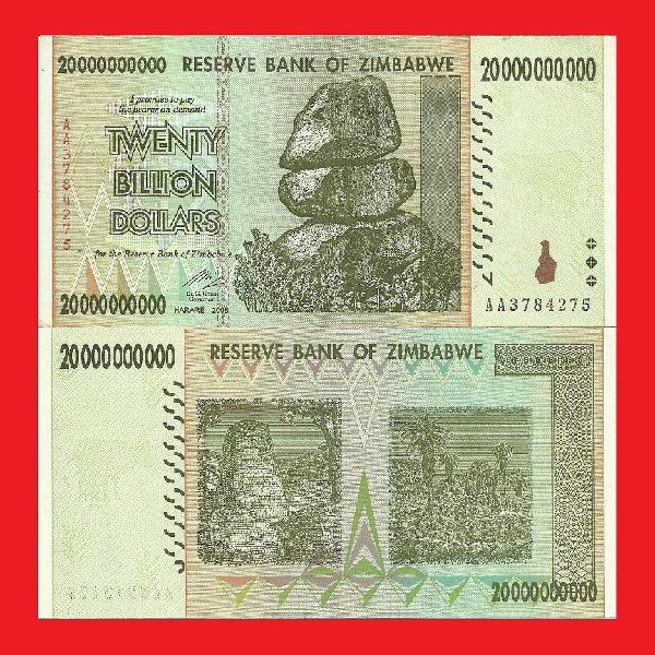 Zimbabwe 20 billion dollar banknote serial aa3784275