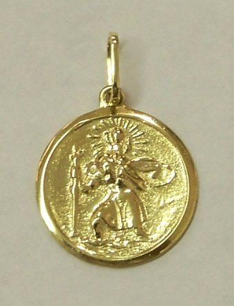 18k / 18ct gold saint christopher disc, 20mm